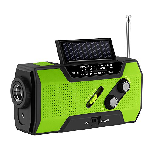 FORNORM Emergency Hand Crank Radio, Solar Radio 2000mAh Power Bank Wind Up...