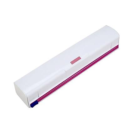 lzndeal Dispensador de Envoltura de Alimentos Plástico Cortador de Láminas de Cling Film Storage Holder Box