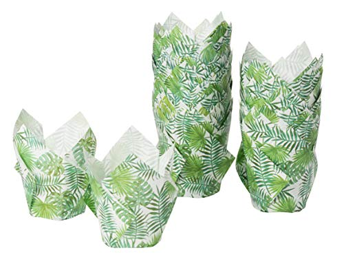 Tulip Cupcake Liners - 100-Pack Medium Baking Cups, Palm Leaf Design Muffin Wrappers, Perfect for Tropical Hawaiian Themed Birthday Parties, Weddings, Baby Showers, Tiki Luau Parties -