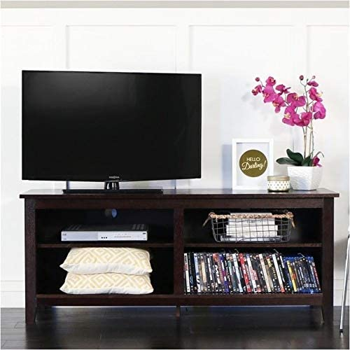 Pemberly Row 58 Minimal Rustic Farmhouse Wood TV Stand Console for TV s up to 64 Flat Screen in Espresso