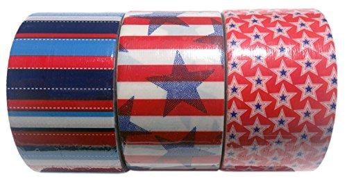 Patriotic Stars & Stripes Duct Tape 3-Pack Bundle