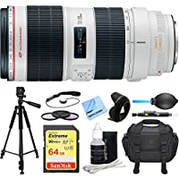 Canon EF 70-200mm f/2.8L IS II USM Telephoto Zoom Lens Deluxe Accessory Bundle includes Lens, 64GB SDXC Memory Card, Tripod, 77mm Filter Kit, Lens Hood, Bag, Cleaning Kit, Beach Camera Cloth and More
