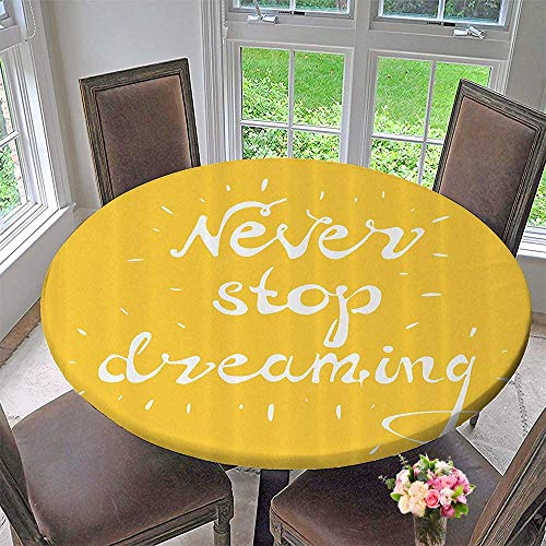 """Mikihome Round Table Tablecloth Lighted Wise """"Never Stop Dreaming"""