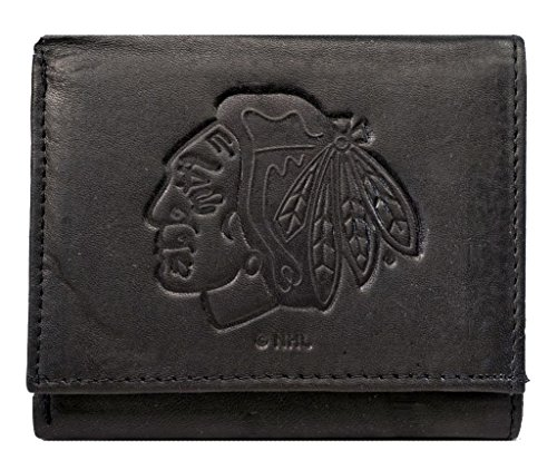 - Rico Chicago Blackhawks NHL Embossed Logo Black Leather Trifold Wallet