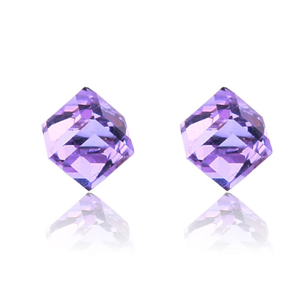 Lottoy 1 Pairs Weight Loss Magnetic Water Cube Ear Stud for Women Girls Health Magnet (Purple)