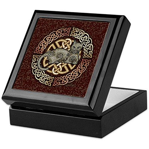 - CafePress Celtic Cat Keepsake Box, Finished Hardwood Jewelry Box, Velvet Lined Memento Box