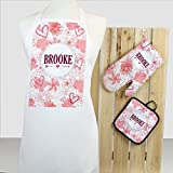 Personalized Direct Personalized Floral 3-Piece Apron, Potholder and Oven Mitt Set