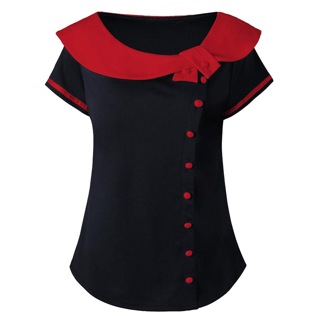 Blouses for Women,Womens Tops Short Sleeve Plus Size Two Tone Peter Pan Collar T-Shirt Tops(XXXL,Red)