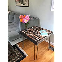 Beautiful Barn Wood End Table -23x23x20- with Eames Style Hairpin Legs