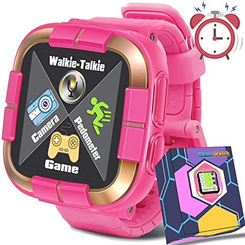 GBD 2019 New Kids Games Smart Watch Fitness Tracker [Walkie Talkie Pro ] for Boys Girls Holiday Birthday Gift Kids Digital Wrist Watch with Pedometer Camera Education Electronic Learning Toys (Pink)