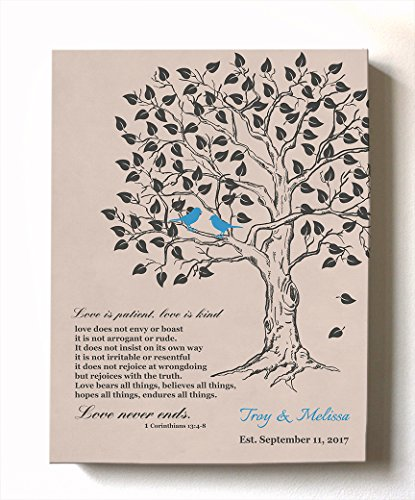 Wedding Ruby Rose Anniversary (MuralMax Personalized Family Tree & Lovebirds, Stretched Canvas Wall Art, Make Your Wedding & Anniversary Gifts Memorable, Unique Decor, Color Rose, Size 10 x 12-30-DAY)
