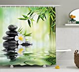 Ambesonne Spa Decor Collection, Garden with Frangipani and Bamboo Japanese Relaxation Luxury Travel Image Pattern, Polyester Fabric Bathroom Shower Curtain Set, 75 Inches Long, Green White Yellow