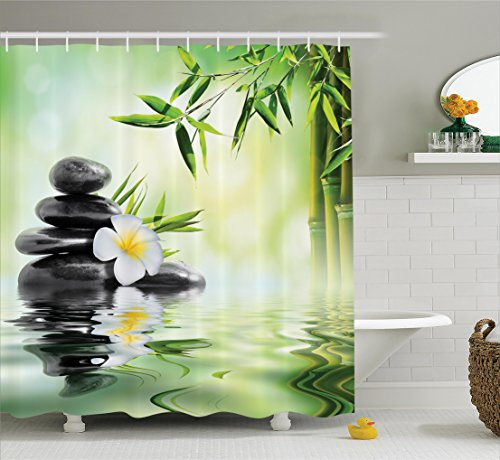 Ambesonne Spa Decor Collection, Garden with Frangipani and Bamboo Japanese Relaxation Luxury Travel Image Pattern, Polyester Fabric Bathroom Shower Curtain Set, 75 Inches Long, Green White Yellow Japanese Spa