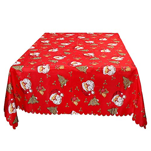 (Wmbetter Christmas Santa Tablecloth Xmas Table Runner Linens Bell Engineered Printed 70 x 60inch Rectangular Perfect Christmas Decorations)