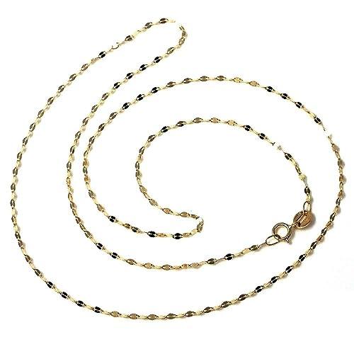 71436dd5918f Cadena oro 18k barbada combinada diamantada 50cm.  AA2687   Amazon.es   Joyería