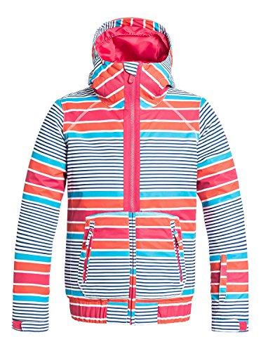 Roxy Big Girls' Valley Hoodie Snow Jacket, Sail Away/Azalea, 14/X-Large