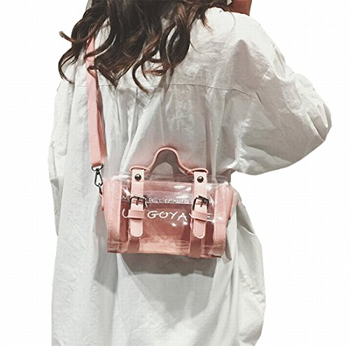 Women Girls Candy Tote Transparent bag Color Handbags Purses for Crossbody Pink colors 4 Clear AWESAMA cgPCWavW