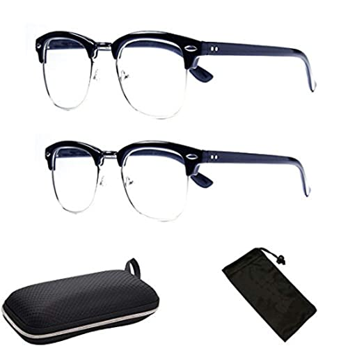 bad9d1485ac6f 1 PAIR Clubmaster Style Black Sliver Reader Retro Geek Nerd Clear Reading  Glasse +1.00