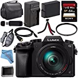 Panasonic Lumix DMC-G7 DMC-G7HK Mirrorless Camera with 14-140mm Lens (Black) + DMW-BLC12 Battery + Charger + Sony 64GB SDXC Card + HDMI Cable + Carrying Case + Memory Card Wallet + Tripod Bundle