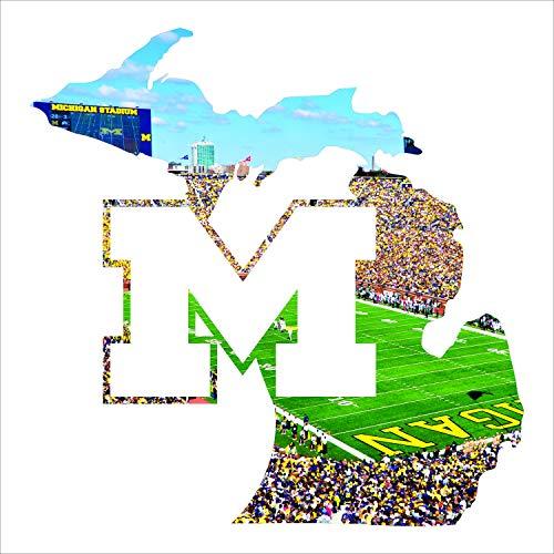 - Laser Cut Metal Wall Art with The University of Michigan Big House Stadium Printed Image