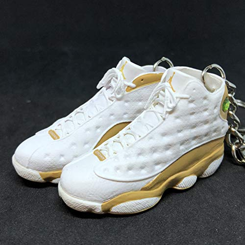 Pair Air Jordan XIII 13 Retro Wheat White Brown OG Sneakers Shoes 3D Keychain 1:6 Figure (Air Jordan 13 Xiii Retro Wheats White Wheat)