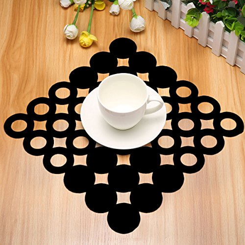 Jeteven Pack of 4 Non-Woven Felt Placemat Table Mat Heat Resistant Dining Table Kitchen Home Black Price: $7.99