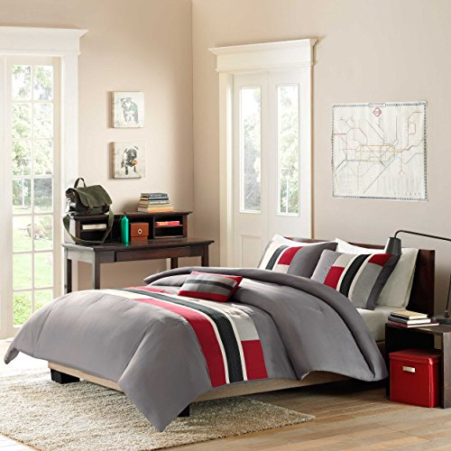 Mizone Pipeline 3 Piece Comforter Set, Twin/Twin X-Large, Red