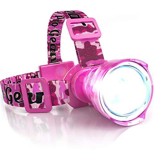 PINK CAMO LED Headlamp Flashlight - Zoomable Broadbeam Spotlight - For Caving Running Camping Hiking- Womens Hunting Head lamp - Super Bright Headlight - Uses AA Batteries - Great Gift!
