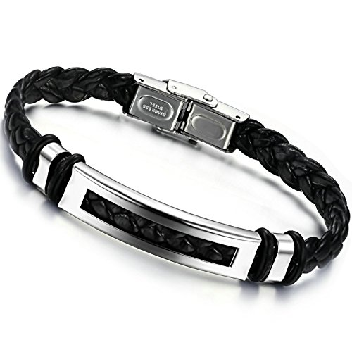 Gnzoe Mens Stainless Steel Black Braided Bangle Bracelets 10MM x 20CM Silver