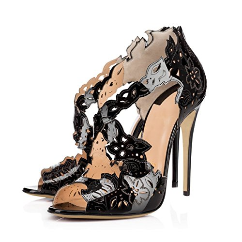 Peep Black Fashion Women's Toe With JOOGO Pumps High Heel Cut Flower ERSwxpqT