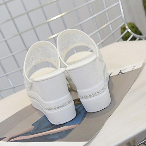 Saingace Damen Hausschuhe High Thick Heel Sandalen Plattform Damen Wedges Flip Flops Weiß