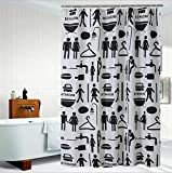 JaHGDU Shower Curtain 1pcs Shower Curtain Curtains Black Polyester Material Mildewproof Thickened Bathroom Amenities No Deformation Does Not Fade 50x200 cm (Color : 1, Size : 240180)