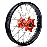 TARAZON 18'' Rear MX Wheel Kit Rim Orange Hub Spokes for KTM EXC SX SXS XC-W EXC-F SXS-F XC-F MXC EXC-G EXC-R 125 200 250 300 350 400 450 500 505 520 525 530 540 With 20mm axle spacers