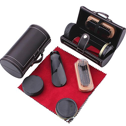 Shoe Shine Brush Set,AOLVO Leather Shoes Care Cleaning Polish Tools Set with Portable Black Leather Case, Travel Shoe Shine Care Kit 6 Piece by AOLVO (Image #7)