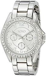 XOXO Women's XO172 Rhinestone-Accented Silver-Tone Boyfriend Watch