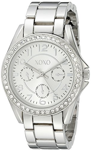 XOXO Women's Analog Watch with Silver-Tone Case, Crystal-Inset Bezel, Silver-Tone Sunray Dial - Official XOXO Woman's Watch, Link Bracelet with Push-Button Clasp - Model: (Silver Tone Analog)