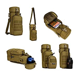 X-Freedom Military Tactical Water Bottle Pouch Holder Bag Kettle outdoor Shoulder Bag, Dark Brown