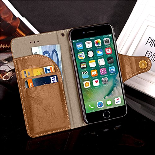 iPhone 7 Case Cover LifeePro [Anti-Scratch] Retro Business Leather Wallet Case Flip Stand Full Body Protection Cover with Lanyard for iPhone 7 Grey