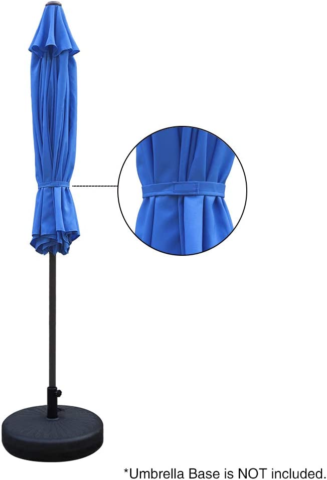 8 Sturdy Steel Ribs Weather Resistant UV Protective Umbrella Market Outdoor Table Umbrella Blue and White ABBLE Outdoor Patio Umbrella 9 Ft Stripe with Crank and Tilt Durable