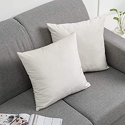 White, 18X18,45cmX45cm PENGSHE Cozy Throw Pillow Covers Soft Velvet Cushion Covers Premium Square Cushion Case for Couch Sofa Bed or Car,Set of 2 18X18