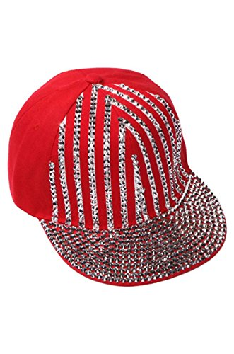 Womens Sequined Striped Baseball Cap - Red (Red Sequined Baseball Cap)