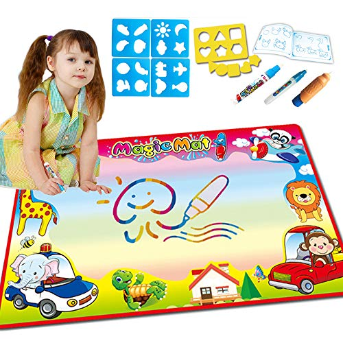 - VG Water Doodle Drawing Mat Magic Mat for Kids Creative and Imaginative Graffiti, Extra Large Water Drawing Mat with 3 Pens, 1 Stick Picture Album, 1 Copy Board and 4 Plastic Templates 34' ' ×22.5' '