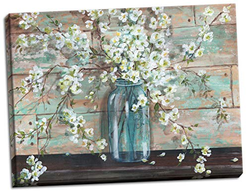 Gango Home Decor Beautiful Watercolor-Style Blossoms In A Mason Jar Floral Print by Tre Sorelle Studios One 20x16in Stretched Canvas