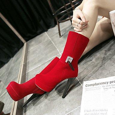 LFNLYX Mujer-Tacón Stiletto-Tacones / Plataforma / Punta Redonda / Botas a la Moda-Botas-Vestido / Casual / Fiesta y Noche-Semicuero-Negro / Red