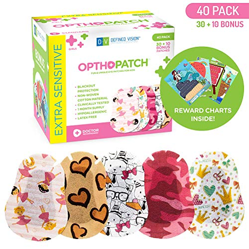 - Kids Eye Patches - Fun Girls Design - 30 + 10 Bonus Latex Free Hypoallergenic Cotton Adhesive Bandages For Amblyopia and Cross Eye - Reward Chart Poster - Optho-Patch by Defined Vision