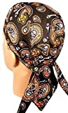 Black Orange Skull Paisley Doo Rag Headwrap Cap Sweatband Biker Durag