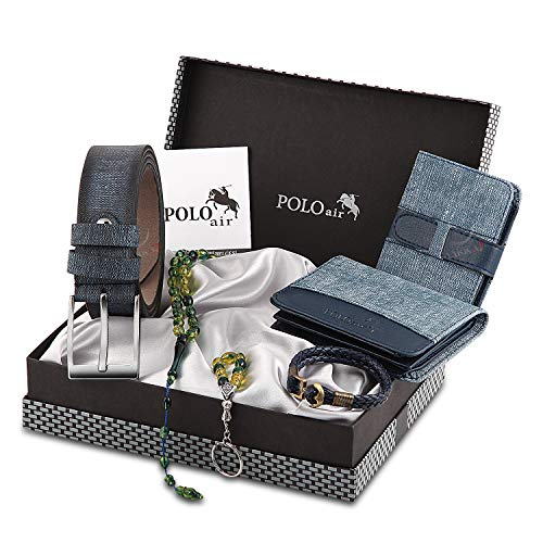 Polo Air Men's Blue1 Accesories Gift Set Including (Wallet - Belt - Credit Card Holder - Key Chain - Bracelet - Bead Rosary-Box)