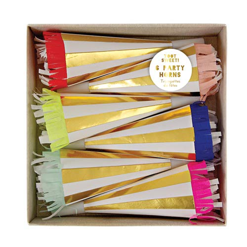 Toot Sweet Meri Meri Gold & White Striped Party Horns With Crepe Frill (6 Pack) ()
