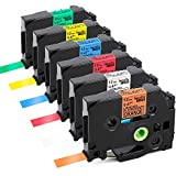 Replace P Touch TZe Label Tape 12mm 0.47 Inch (Black on White/Orange/Red/Blue/Yellow/Green) Tape Compatible with Brother P-Touch PT-D210 H110 PT-D200 Label Makers, Standard Laminated 1/2 inch, 6-Pack