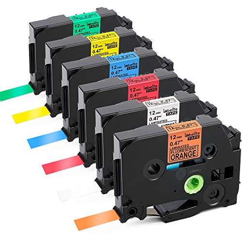 Brother P-touch 1950 - Replace P Touch TZe Label Tape 12mm 0.47 Inch (Black on White/Orange/Red/Blue/Yellow/Green) Tape Compatible with Brother P-Touch PT-D210 H110 PT-D200 Label Makers, Standard Laminated 1/2 inch, 6-Pack